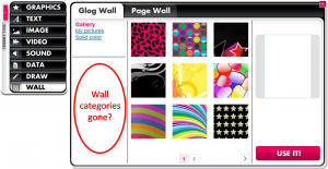 After selecting a solid color for a wall, categories for other wall choices sometimes disappear